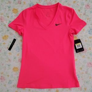 Hot Pink Nike Womens Dry Fit Slim Fit Top